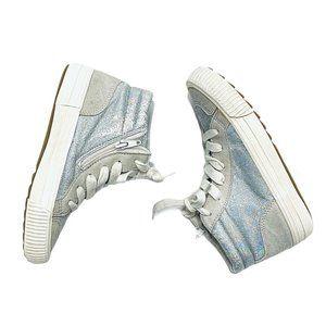 Zara Iridescent Leather High Top Sneakers